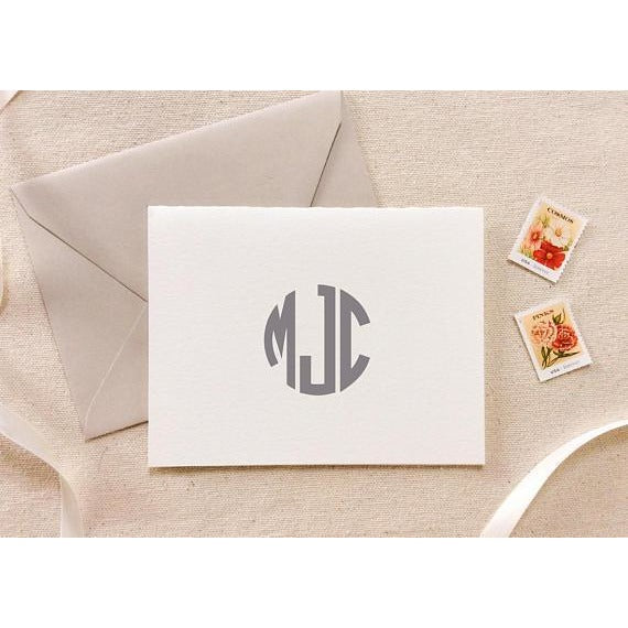 Circle Monogram - Letterpress Folded Card Stationery
