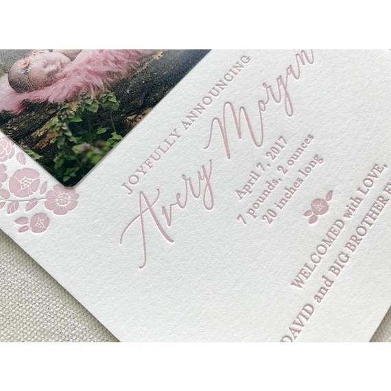 Avery - Letterpress Birth Announcements