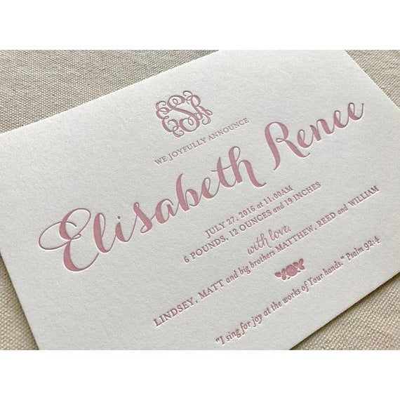 Elisabeth Renee - Letterpress Birth Announcements