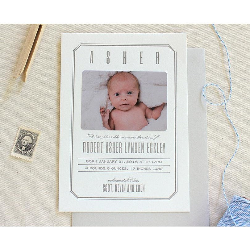 Asher - Letterpress Birth Announcements
