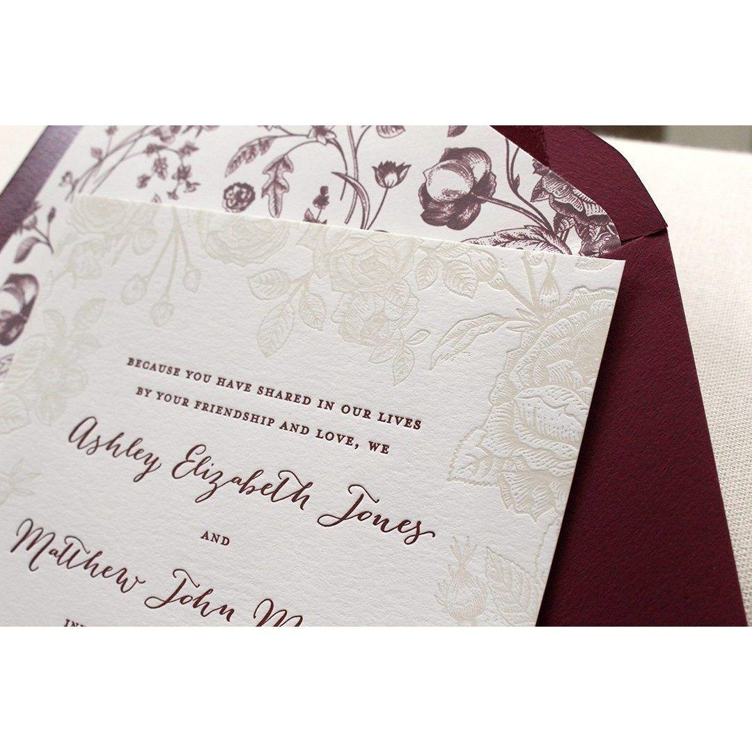 SAMPLE Letterpress Wedding Invitation