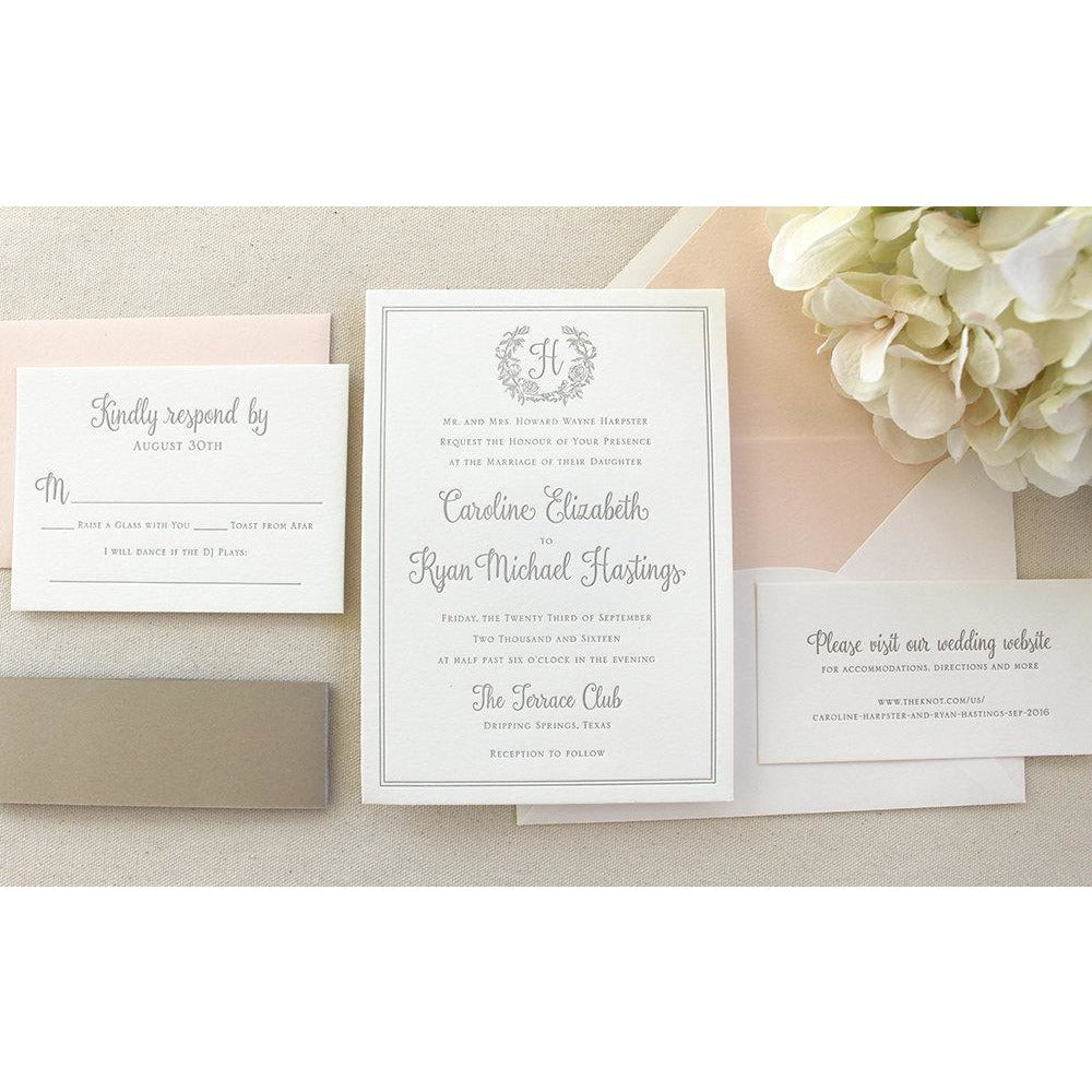 The Rose Wreath Suite - Letterpress Wedding Invitations