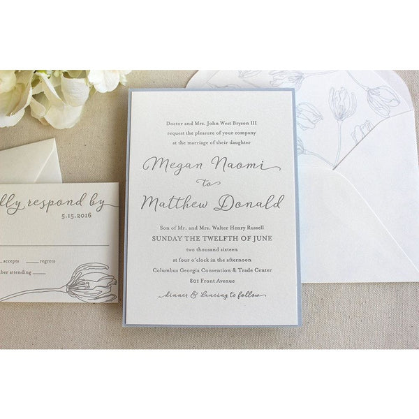 The Spring Tulip - Letterpress Wedding Invitations