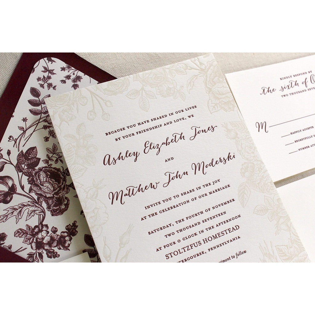 The Vintage Rose Suite - Letterpress Wedding Invitations