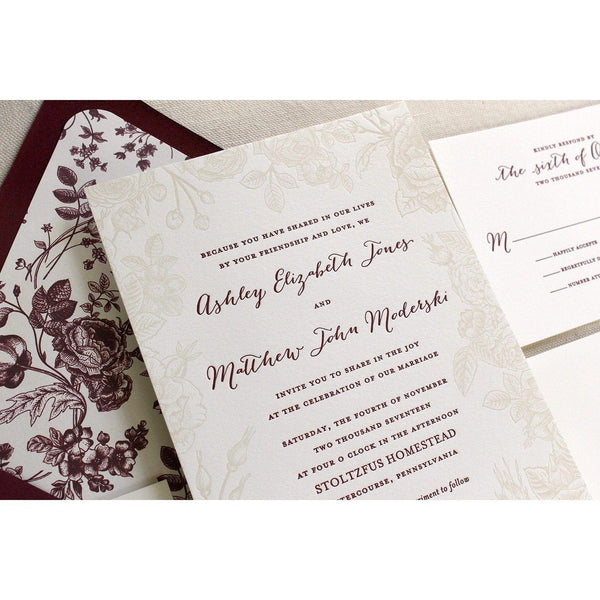 The Vintage Rose Suite - SAMPLE Letterpress Wedding Invitation