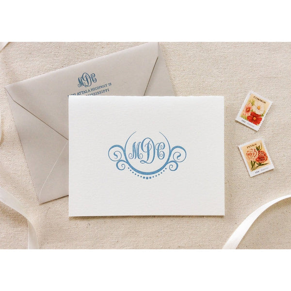 Crest Monogram - Letterpress Folded Card Stationery