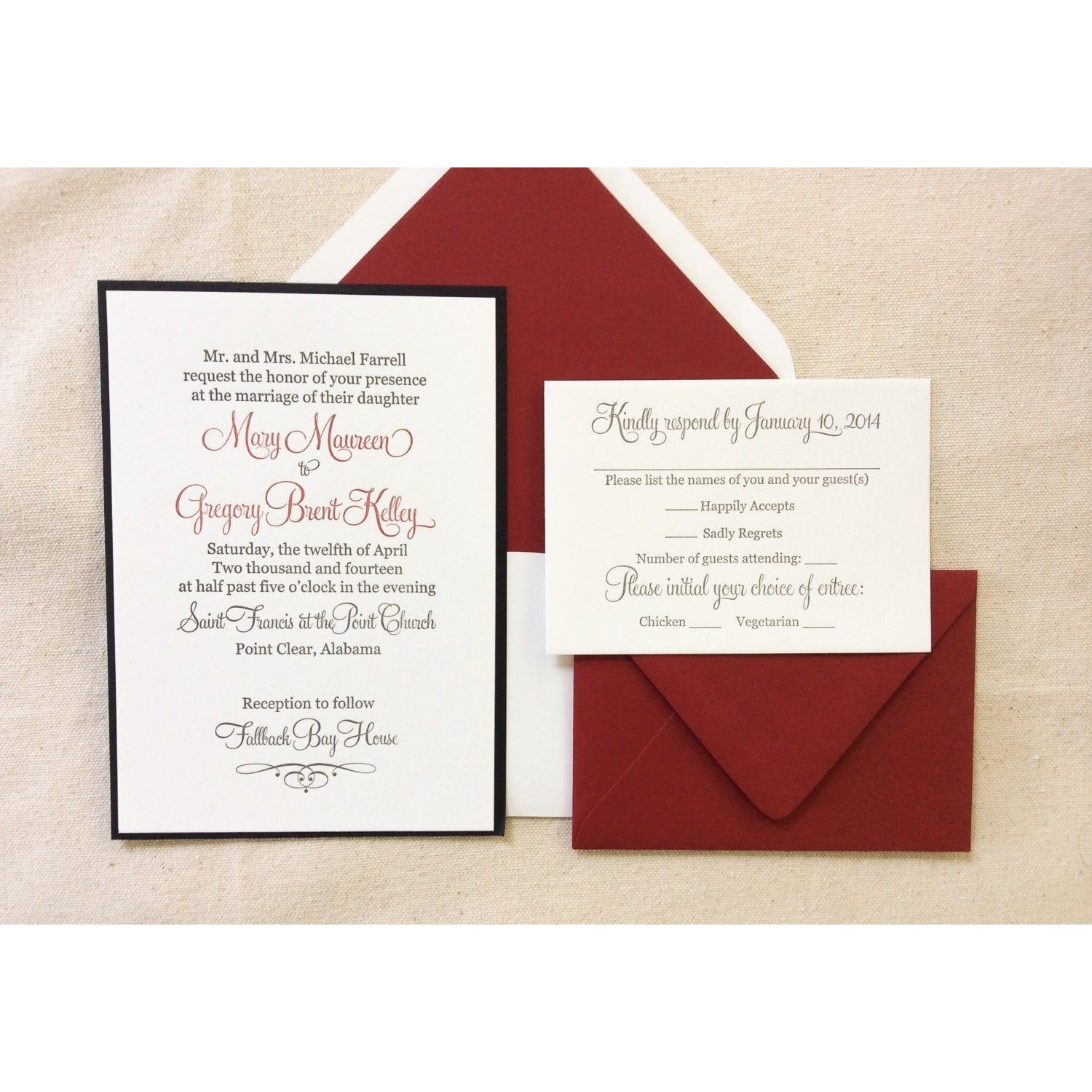 The Red Rose Suite - Letterpress Wedding Invitations
