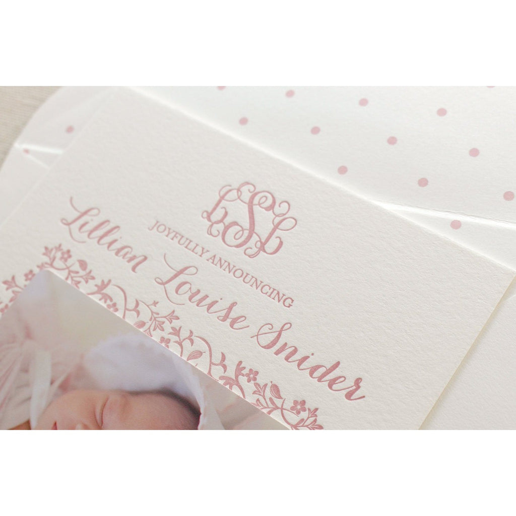 Lillian - Letterpress Birth Announcements