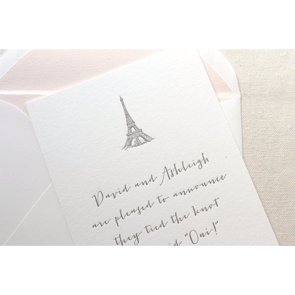 Parisian Elopement - Letterpress Wedding Announcement