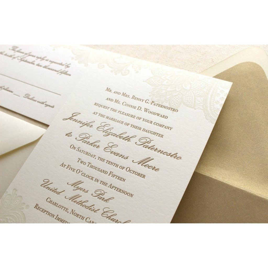 The Vintage Floral Lace Suite - SAMPLE Letterpress Wedding Invitation