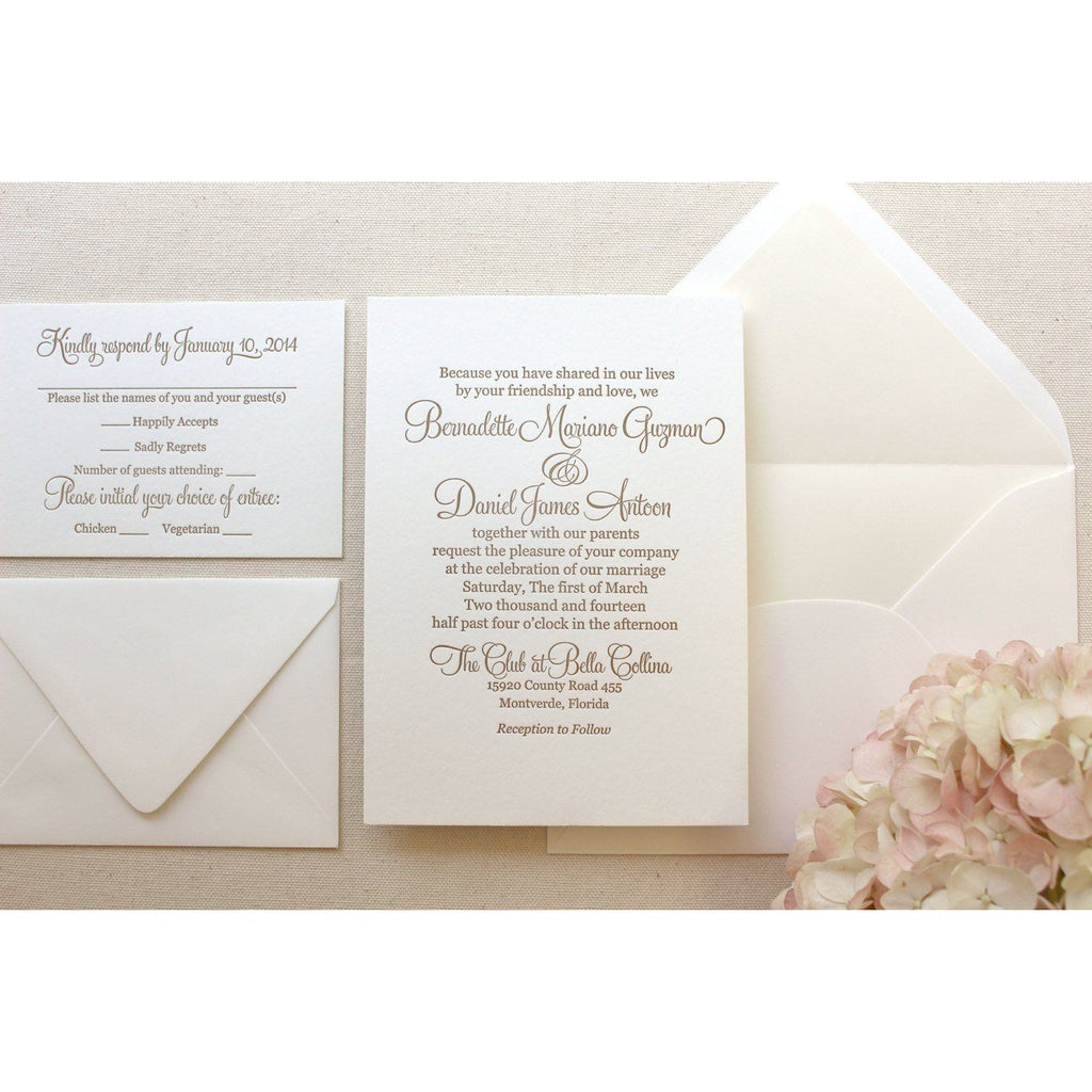 The Camellia Suite  - Letterpress Wedding Invitations