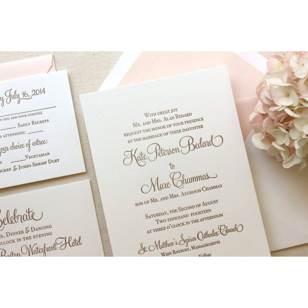 The Hydrangea Suite - Letterpress Wedding Invitations