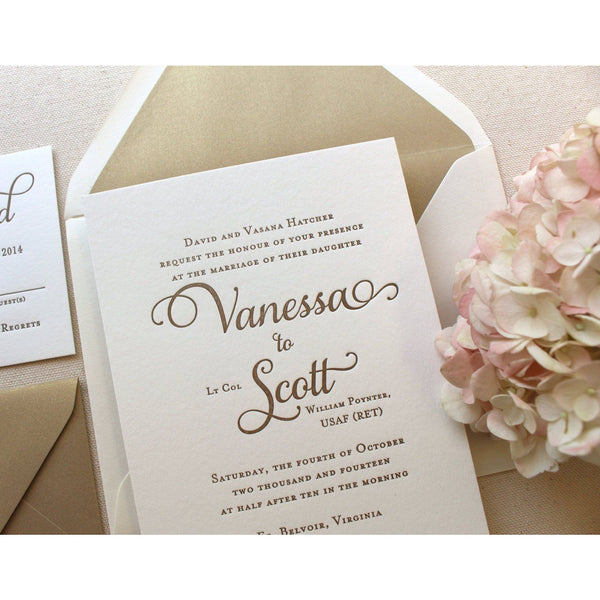 The Garden Rose Suite - Letterpress Wedding Invitations