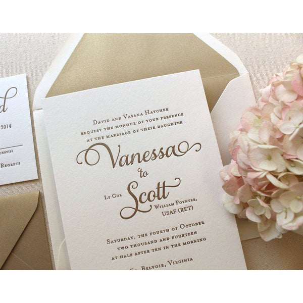 The Garden Rose Suite - SAMPLE Letterpress Wedding Invitation