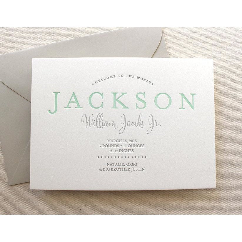 Jackson - Letterpress Birth Announcements
