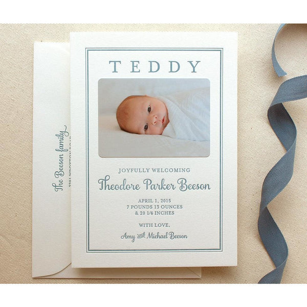 Teddy - Letterpress Birth Announcements