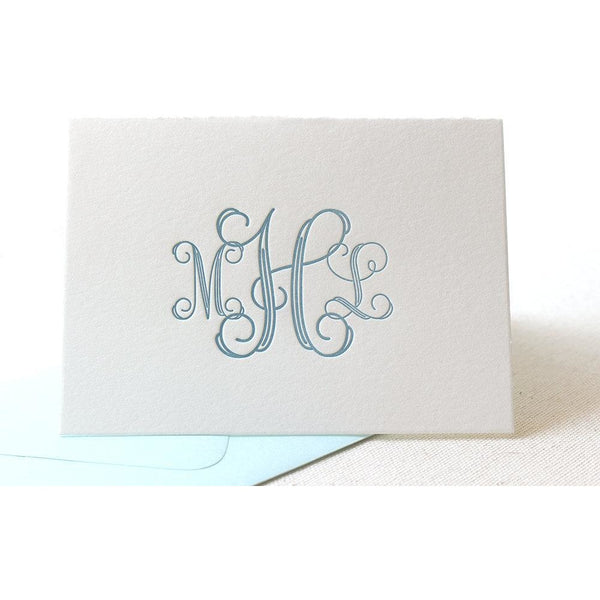 Vine Monogram - Letterpress Folded Card Stationery