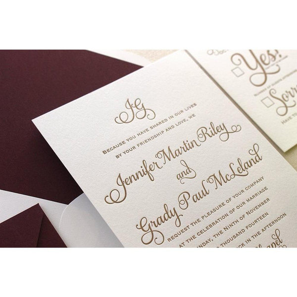 The Cranberry Suite - SAMPLE Letterpress Wedding Invitation