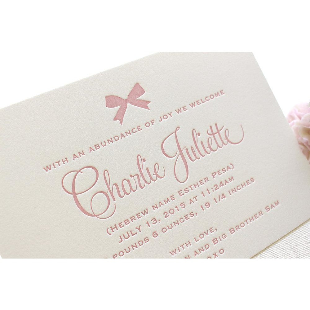 Charlie - Letterpress Birth Announcements