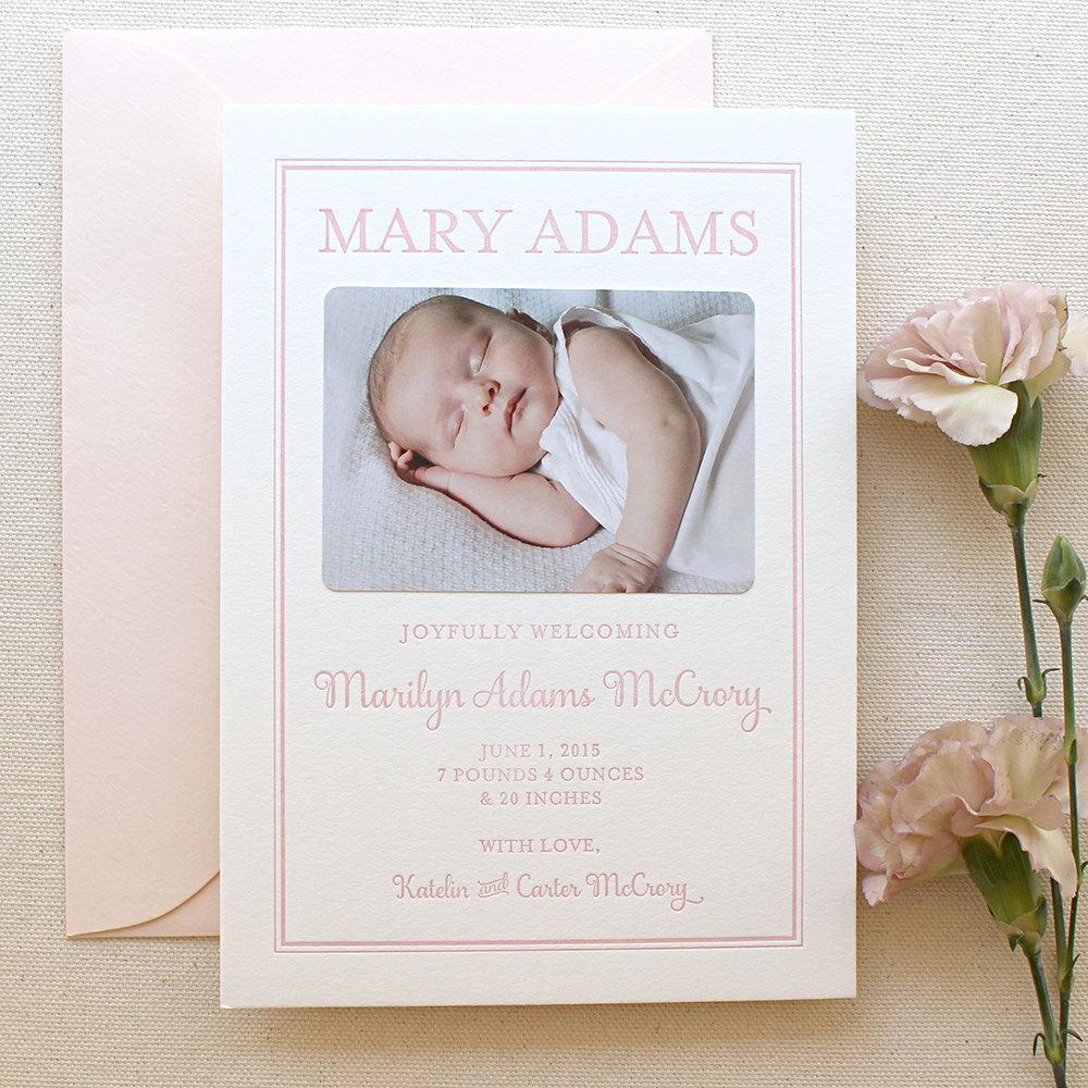 Mary - Letterpress Birth Announcements