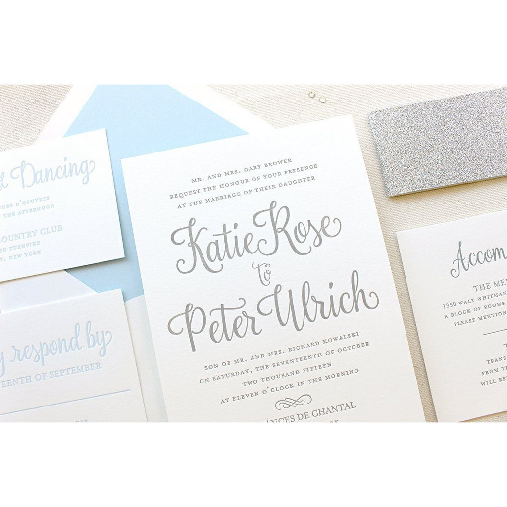 The Forget Me Not Suite - Letterpress Wedding Invitations
