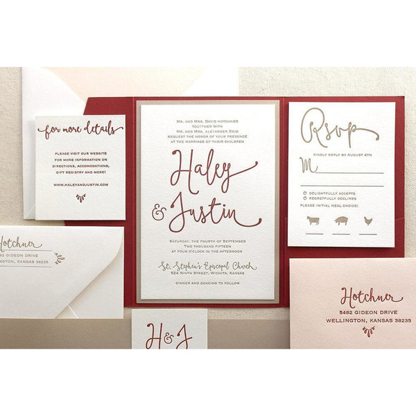 The Thistle Suite - Letterpress Wedding Invitations