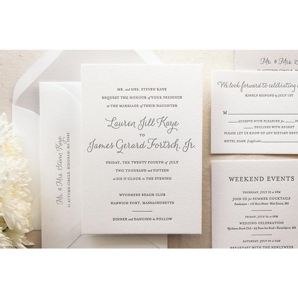 The Lily Suite  - SAMPLE Letterpress Wedding Invitation