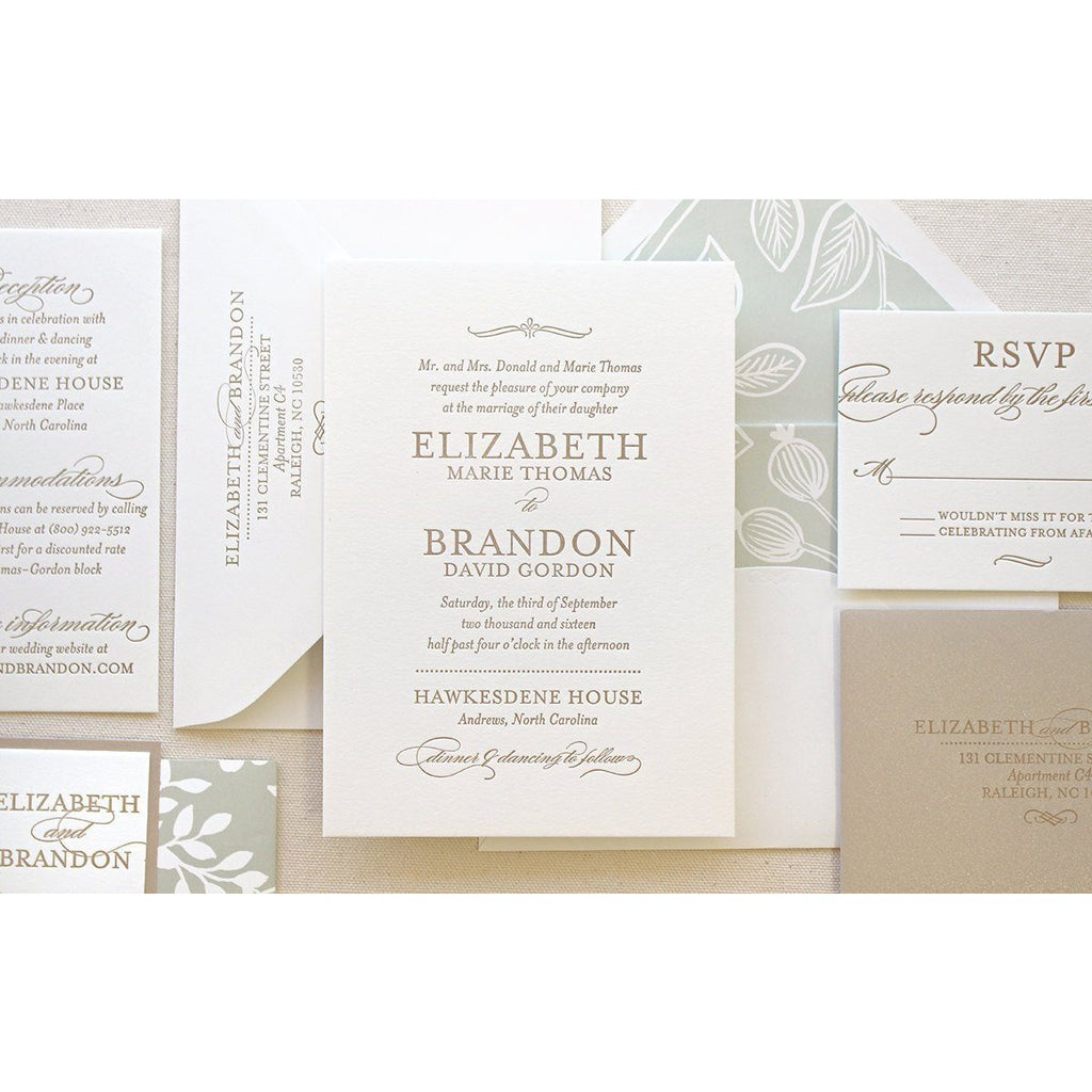The Spearmint Blossom Suite - Letterpress Wedding Invitations