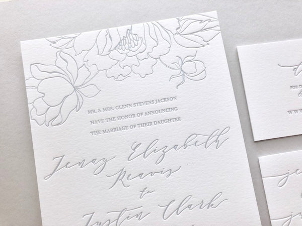 The Jenay Suite - SAMPLE Letterpress Wedding Invitation