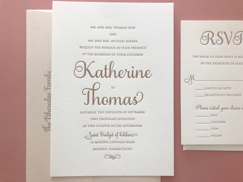 The Katherine Suite - Letterpress Wedding Invitations