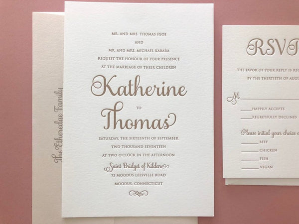 The Katherine Springs Suite - SAMPLE Letterpress Wedding Invitation