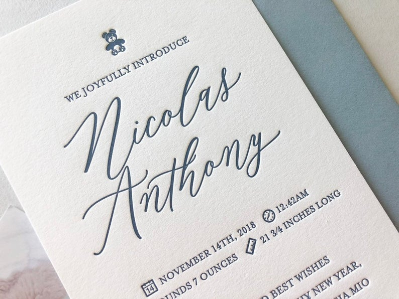 Nicolas - Letterpress Birth Announcements