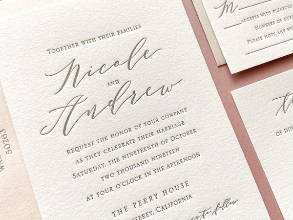 The Nicole Suite - Letterpress Wedding Invitations
