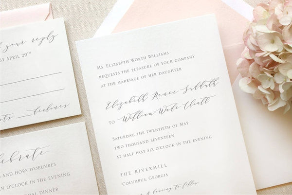 The Rivercrest Suite - SAMPLE Letterpress Wedding Invitation