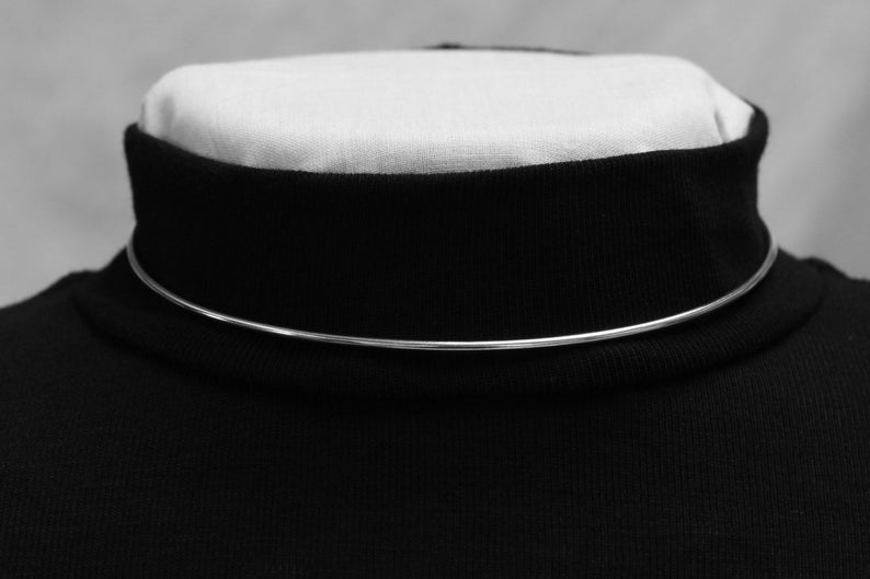 Sterling Silver Discreet Elegant Sub Day Collar 2mm-Adjustable