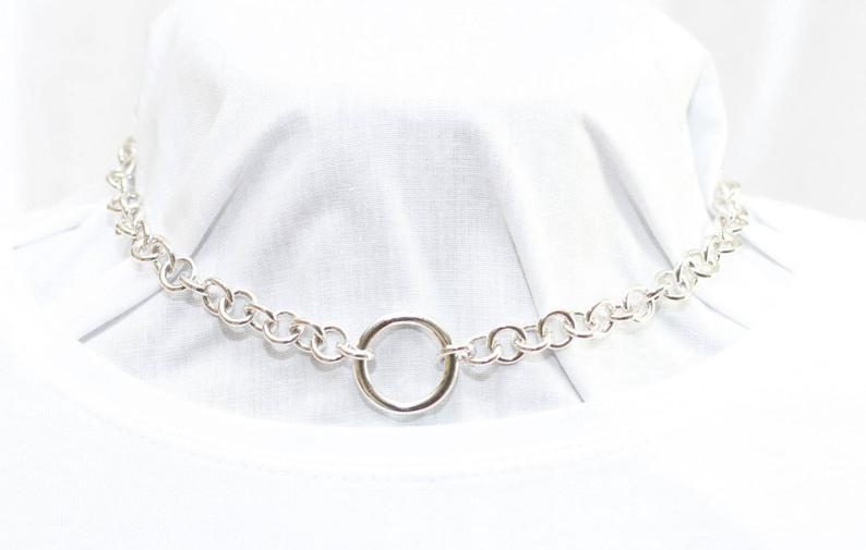 BDSM SUBMISSIVE DAY COLLAR, HEAVY STERLING SILVER (925) CHAIN CHOKER.
