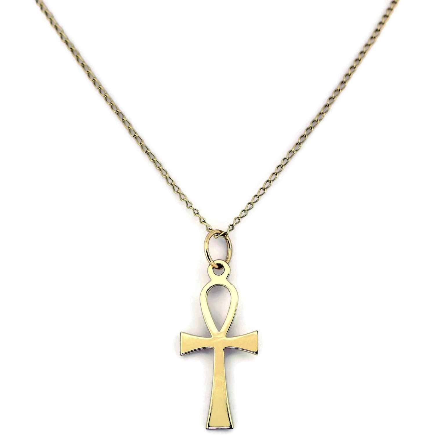 GOLD, 9ct, ANKH CROSS AND CHAIN.