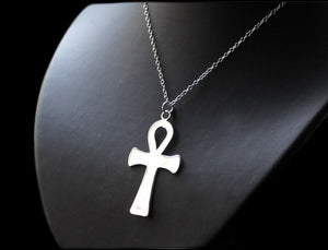 Large Ankh Necklace, Gothic Silver- 925 Sterling Silver.