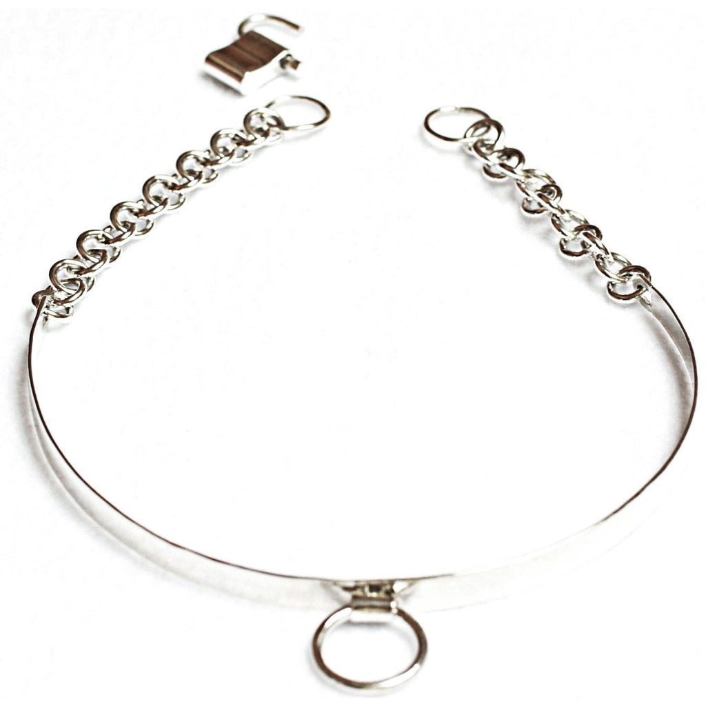 Sterling Silver-Elegant & Sexy Submissive Collar-BDSM O Ring & Padlock Clasp