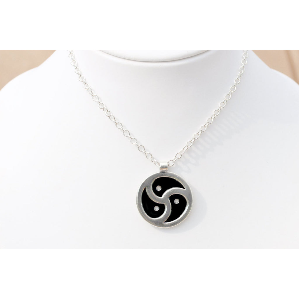 Sterling Silver Large BDSM Symbol Pendant & Chain 25MM