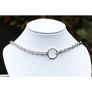 BDSM Style Day Collar, Sterling Silver Medium Chain, Classic O Ring chain BDSM collar,  O ring, Handmade BDSM Collar