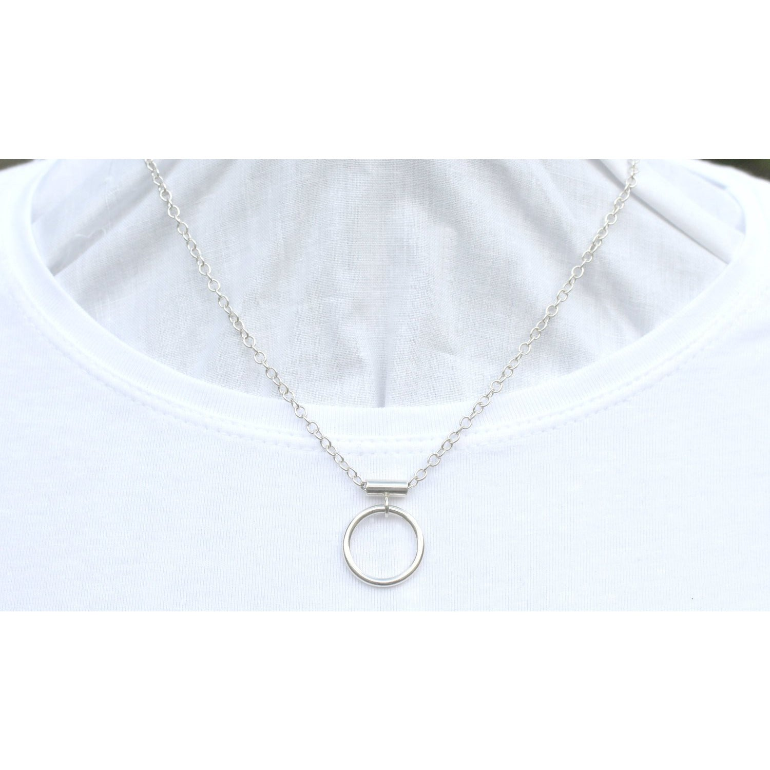 Discreet Day Collar, O Ring, Sterling Silver (925), Choker, Necklace, Silver O Ring, Handmade, Unisex.