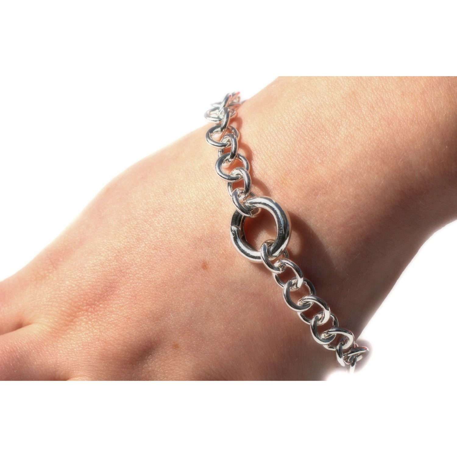 DISCREET DAY COLLAR BDSM HEAVY CHAIN BRACELET STERLING SILVER.
