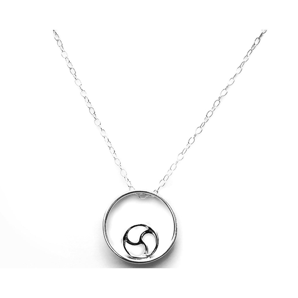 UNIQUE, DISCREET BDSM TRISKELION IN STERLING SILVER & CHAIN 925.