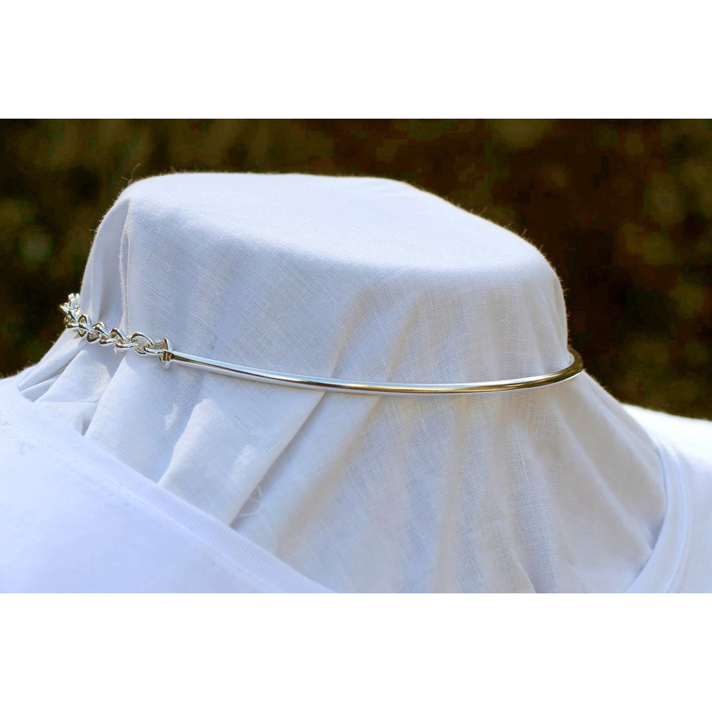 New Design, Discreet Day Collar, 3mm Sterling Silver (8g), Chain Back Section, Handmade, BDSM Collar