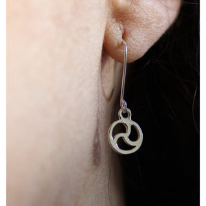 BDSM SYMBOL EARRINGS DISCREET, STERLING SILVER.
