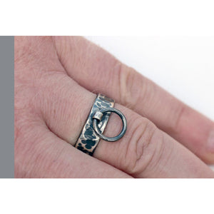 BDSM RING, OXIDIZED RING OF O STERLING SILVER HAMMERED FINISH.