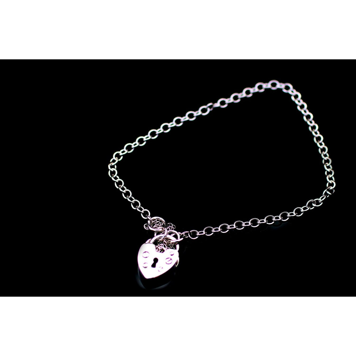 VINTAGE STYLE HEART PADLOCK CLASP, BRACELET AND CHAIN STERLING SILVER.