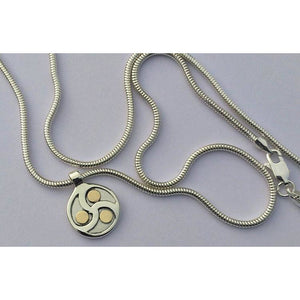 Discreet Day Collar, Sterling Silver, 9K Gold, BDSM Triskele, Triskelion Pendant, Day Collar, Choker Necklace, Unisex.