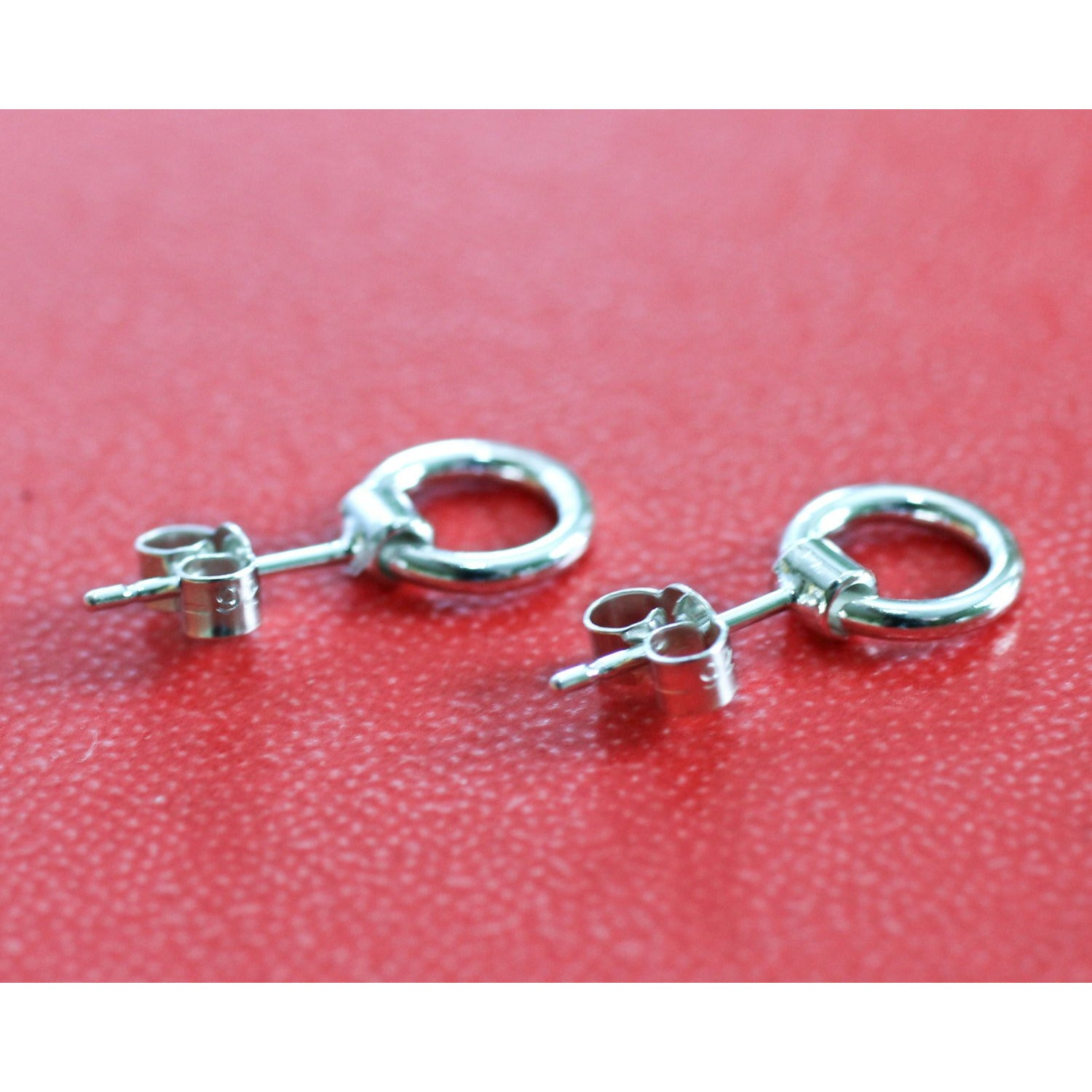 BDSM RING OF O SHACKLE STUD EARRINGS, STERLING SILVER.